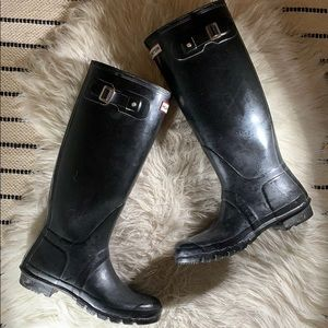 HUNTER boots women size US 9 EU 40/41 black